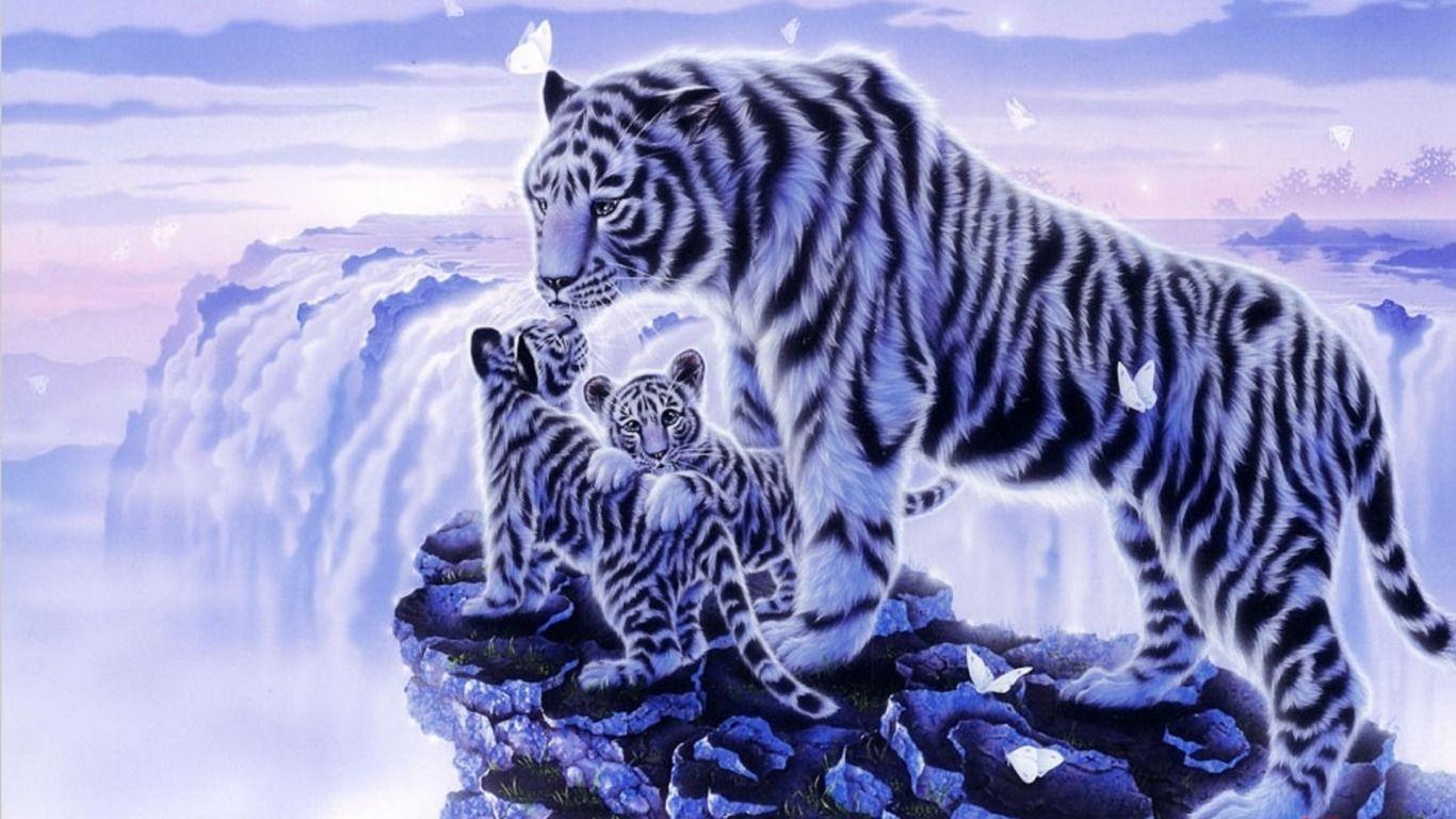 fond ecran tigres